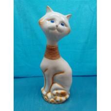 Копилка Кот на камнях малый глянец бело-золотой(шпагат)