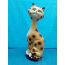 Копилка Кот на камнях малый глянец желтый леопард