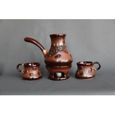 Набор для кофе (4 предмета), турка большая+2 чашки+камин, лепка Зерна