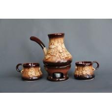 Набор для кофе (4 предмета), турка большая+2 чашки+камин, лепка Море