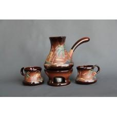 Набор для кофе (4 предмета), турка большая+2 чашки+камин, роспись Море