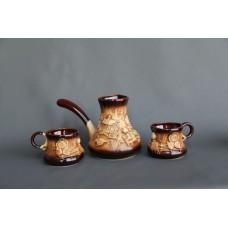 Набор для кофе (3 предмета), турка большая+2 чашки, лепка Село