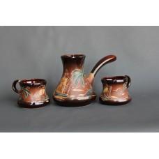 Набор для кофе (3 предмета), турка большая+2 чашки, роспись Море