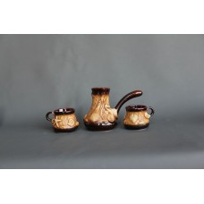 Набор для кофе (3 предмета), турка малая+2 чашки, лепка Море