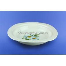 Тарелка для холодца белая с деколью, 23 см
