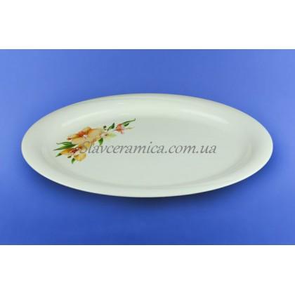 Блюдо овальное белое с деколью, 36 см