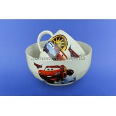 Набор детский с деколью Тачки из 2х предметов: чашка и салатник