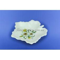 """Салатник   """"Кленовый лист"""" белый с деколью, 21 см"""