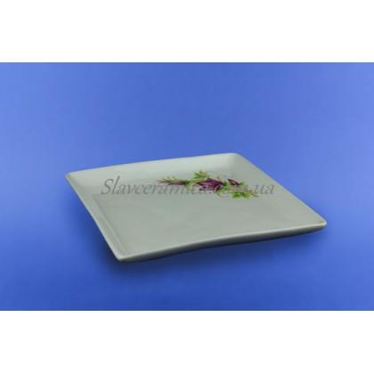 """Тарелка """"Квадрат"""" для суши белая с деколью, 19 см"""