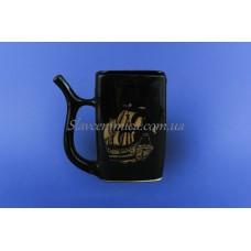Чашка для минеральной воды коричневая с деколью